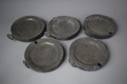 A Collection of Five 19th Century Pewter Food Warmers (AF)