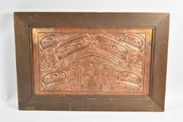 """A Framed Hand Tooled Copper Plaque By American Artist Joseph Paul Illg, Eagle and Raven """"Love"""