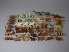 A Collection of Various Miniature Carved Wooden Animals