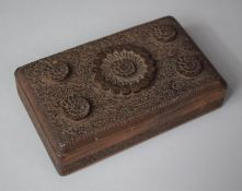 A North Indian Profusely Carved Rectangular Card/Cigarette Box, with Hinged Lid, 19cm Wide