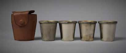 A Ogden of London Leather Cased Set of Four Cross Spirit/Toddy Cups, 7cm high Total, Cups 4.5cm High