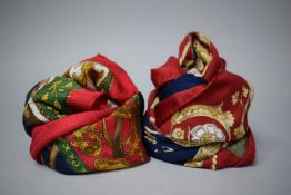 Two Vintage Scarves, One Have Equestrian Design and the Other Royal Keys, No Makers Labels or Signs