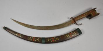 A Vintage Curved Bladed Dagger with Wooden Grip and Scabbard with Inlaid Decoration, 61cm Long