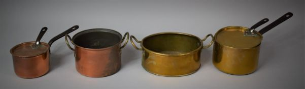 A Collection of Various 19th Century and Later Brass and Copper Pans to Include Copper and Brass