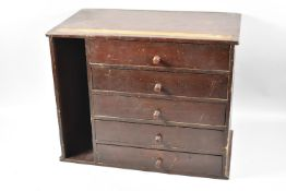 An Early/Mid 20th century Stained Pine Five Drawer Collectors Chest with Open Store to Side,