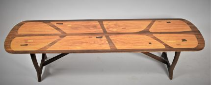 A Mid/Late 20th Century Everest for Heals 'Long Tom' Coffee Table, The Top Housing Inlaid Abstract