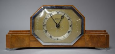 A Walnut Art Deco Mantel Clock by Elliot Retailed by Kemp and Wilcox, Wolverhampton with Shaped Form