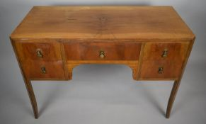A Mid/Late 20th Century Walnut Ladies Writing Desk with Centre Drawer Flanked by Two Banks of