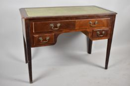 A Late 20th Century Tooled Leather Topped Writing Desk with Square Tapering Legs and having Long