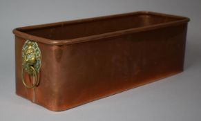 A Rectangular Copper Planter Having Lipped Edge and Brass Lion Mask Loop Handles, 42cms Wide