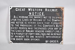 A Cast Iron GWR Trespass Notice 'Great Western Railway. Noptice. All Persons Are Warned Not To