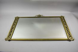 An Early/mid 20th Century Good Quality Brass Mounted Mirror with Top Central Urn Mount Flanked by