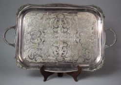 A Viners of Sheffield Alpha Plated Chased Two Handled Serving Tray with Floral Raised and Engraved