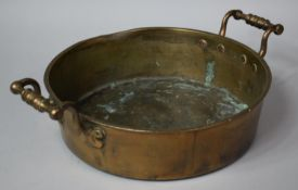 A 19th Century Copper Two Handled Pan, 31.5cms Diameter