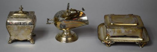 A Collection of Three Pieces of Silver Plate to Include Helmet Shaped Sugar Bowl Complete with