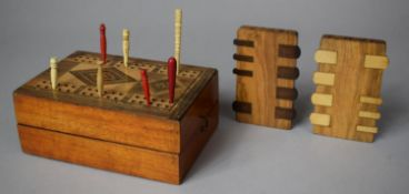 An Early 20th Century Inlaid Wooden Folding Cribbage Board/Box Containing Various Pegs and Whist