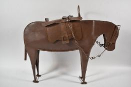 A Fretwork Metal Study of A War Horse, The Hinged Side Reveals Inner Store, 20th Century, 46cms