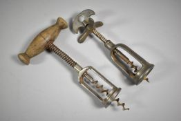 Two Vintage Corkscrews to Include Wooden Handled Example