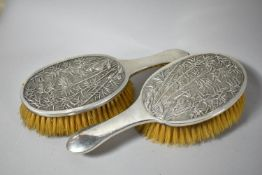 A Pair of Oriental White Metal Ladies Dressing Table Brushes Decorated in relief with Bamboo,