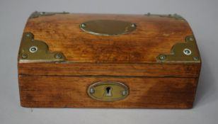 A 19th Century Brass Mounted Rectangular Box with Hinged Domed Top, 15.5cms Wide