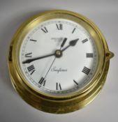 A Reproduction Brass Bulkhead Mounting Ships Clock , President Seafarer, Battery Movement, 18cm