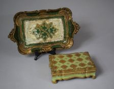 Two Gilt and Green Decorated Papier Mache Items, Tray and Lidded Box, Tray 37cm wide
