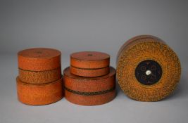 A Collection of Five Indian Graduated Circular Lacquered Boxes, The Largest 11.25cm