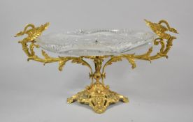 A Continental Gilt Metal and Cut Glass Table Centre Bowl with Stylised Swan Handles, Art Nouveau