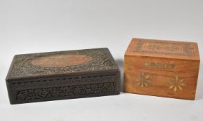 A Carved and Brass Inlaid Indian Jewellery Box Together with a More Modern Example Containing