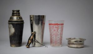 An Edwardian Silver Plated Cocktail Shaker, Wooden Handled Corkscrew, Silver Plated Coaster and Part