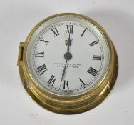 A Sestrel Brass Cased Alarm Clock in the Form of a Small Ships Clock, Clockwork Movement in Need