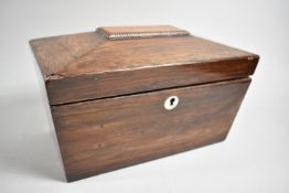 A 19th Century Rosewood Two Division Tea Caddy of Sarcophagus Form, in Need of Restoration and