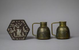 A Hexagonal Oriental Mother of Pearl Inlaid Box Together with a Pair of Brass Miniature Jugs with