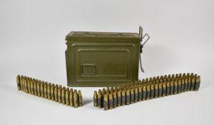 A .350M1 Cal Ammunition Box Containing Spent Machine Gun Belt