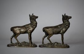 A Pair of Late 19th Century Bronze Mounts in the Form of Stags (Missing Antlers)