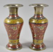 A Pair of Indian Enamelled Silver Plated Vases, The Bodies Decorated in Coloured Enamels with