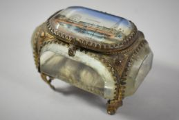 A Late 19th Century Souvenir Gilt and Glass Box for Blackpool on Scrolled Feet, 8cm wide
