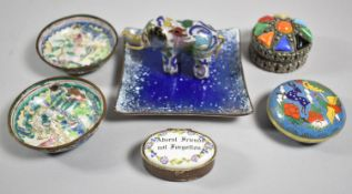 A Collection of Oriental Enamelled Items to Include Small Tray, Elephants, Lidded Circular Box etc