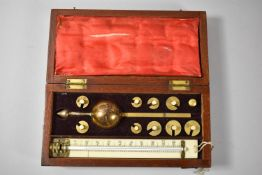 A Mahogany Cased Sikes's Hydrometer, Thermometer AF, 20cm Wide