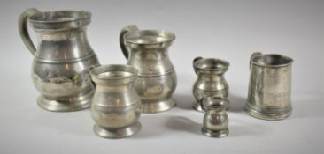 A Collection of Six 19th Century Pewter Measures, the Largest One Quart