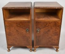 A Pair of Mid 20th Century Burr Walnut Bedside Cabinets on Short Cabriole Supports, Each 39cm wide