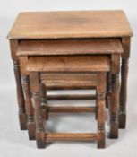 A Mid 20th Century Oak Nest of Three Tables, The Largest 51cm Wide