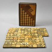 An Inlaid Box Containing Collection of Six and Nine Spot Dominoes, Not Checked, Box in Need of