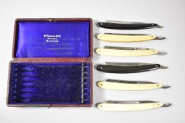 A McPherson Bros. Cutlers Box Housing Six Hollow Ground Cut Throat Razors to Include 2x Frass,