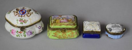 """A Collection of Two Continental Ceramic Boxes Together with Two Enamelled Snuff Boxes, """"Remember The"""