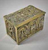 A Brass Rectangular Brass Casket Decorated in Relief with Cries of London Scenes, 15.5cm Wide