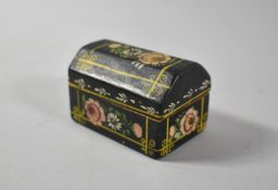 A Miniature Painted Wooden Casket Decorated with Flowers, Hinged Lid, 7cm Wide