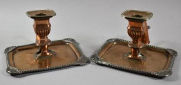 A Pair of Sheffield Plated Bedchamber Sticks with Rectangular Trays and Snuffers, Most Silver