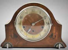 An Inlaid Art Deco Westminster Chime Mantle Clock, 31cm wide