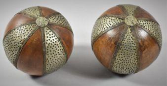 A Pair of Far Eastern Metal Mounted Wooden Balls, 14.5cm Diameter